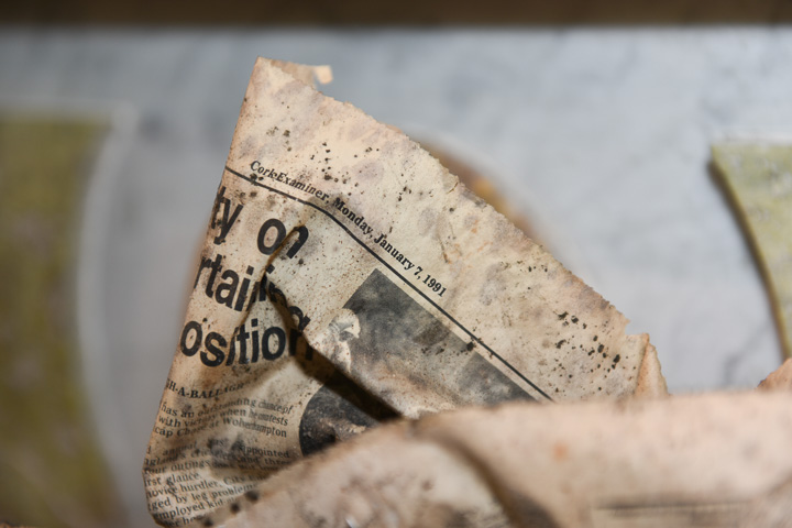 1991 Newspaper found embedded in the altar in 2016